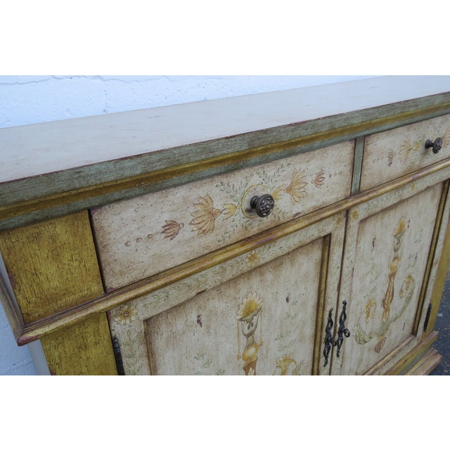 French Shabby Shic Painted Distressed Tall Sideboard Buffet Narrow Console 2154 For Sale In Miami - Image 6 of 13