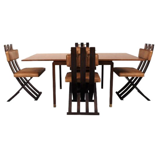 Rare & Outstanding Harvey Probber Games Table & Scissor Chairs For Sale