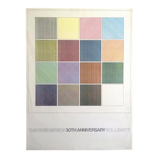 "Sol Lewitt Rare Vintage 1984 ""Paris Review 30th Anniversary"" Original Silkscreen Print Limited Edition Poster For Sale"