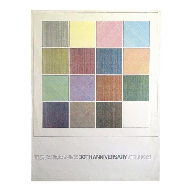 "Sol Lewitt Rare Vintage 1984 ""Paris Review 30th Anniversary"" Original Silkscreen Print Limited Edition Poster For Sale"