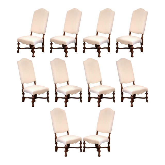 Large French Carved Walnut Dining Room Side Chairs With Arched Top - Set of 10 For Sale