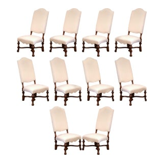 Set of Ten Large French Carved Walnut Dining Room Side Chairs With Arched Top For Sale
