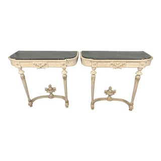 Louis XVI Style Painted Consoles a Pair For Sale