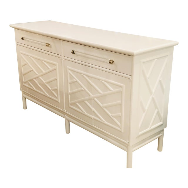 Lacquered White Chinese Chippendale Faux Bamboo Lucite Brass Credenza Buffet - Image 1 of 13