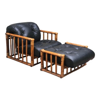 Mid Century Calif-Asia Rattan Club Chair and Ottoman For Sale