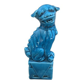 Turquoise Ceramic Chinese Foo Dog For Sale