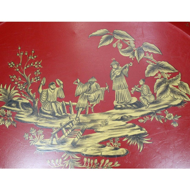 Chinoiserie Large 20th Century English Red & Gold Lacquered Oval Chinoiserie Tole Tray For Sale - Image 3 of 7