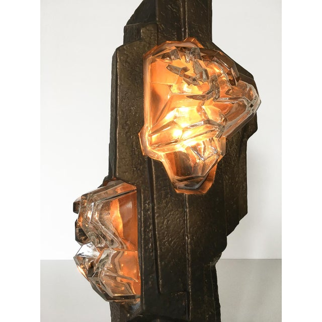 Brutalist Sculptural Rock Crystal Formation Ceramic and Glass Table Lamp For Sale - Image 11 of 13