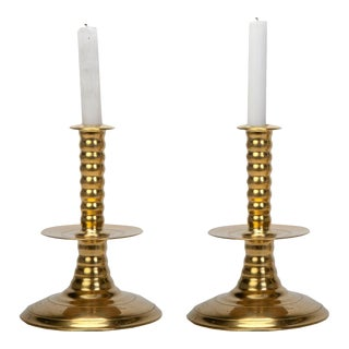 Colonial Williamsburg Brass Trumpet Candlesticks - A Pair For Sale