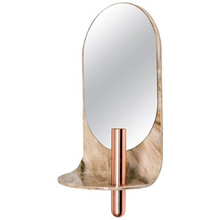 Swoop Mirror in Curved Stone With Copper Vase by Birnam Wood Studio For Sale