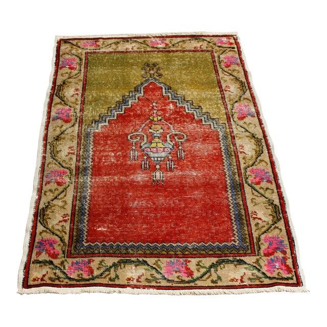 """Vintage Turkish Oushak Handmade Antique Prayer Rug - 37"""" x 52"""" For Sale"""