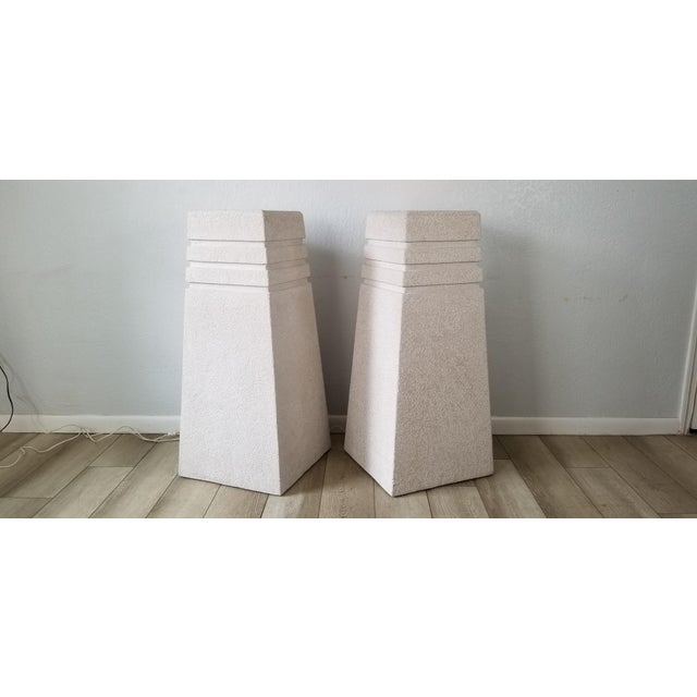 We are very pleased to offer an stunning Vintage Postmodern / Geometric Plastered wood Illuminated Pedestals A Pair with...