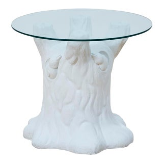 Vintage Plaster Tree Trunk Side Table For Sale
