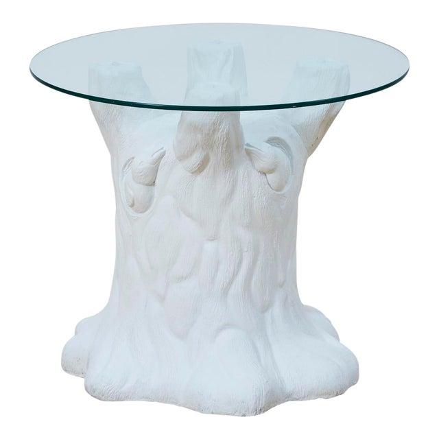 Vintage Plaster Tree Trunk Side Table For Sale