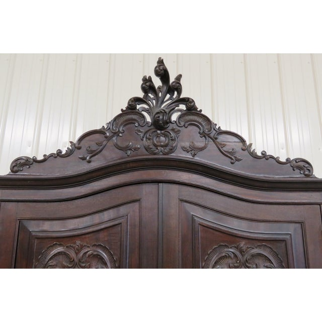 Portugese Carved 2-Door Armoire - Image 3 of 10