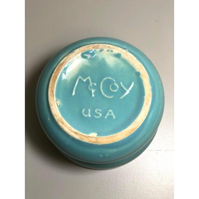 """American McCoy Pottery 1940s - 1960s Small """"Teal Blue"""" Mid-Century Flowerpot and Saucer For Sale - Image 3 of 5"""