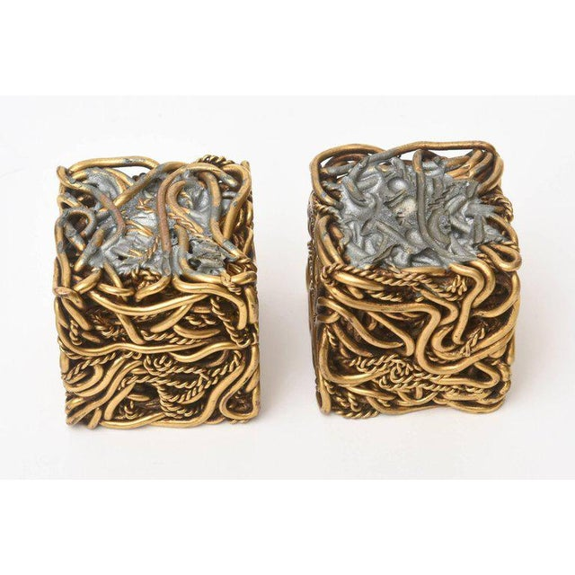 Pair of Signed Yasca Bronze Twisted Square Cube Sculptures For Sale - Image 10 of 11