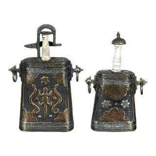 Moroccan Antique Tribal Gun Powder Case Flasks - A Pair For Sale