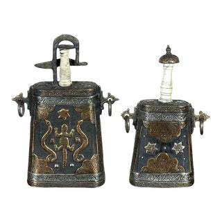 Moroccan Antique Tribal Powder Case Flasks - a Pair For Sale