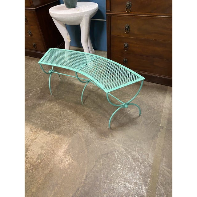1960s Mid-Century Modern Salterini Style Curved Iron Garden Bench For Sale - Image 5 of 6