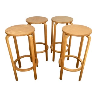 1980s Vintage Molded Plywood Stools- Set of 4 For Sale