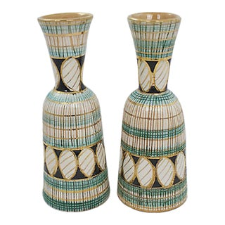 Italian Sgraffito Candleholders, a Pair For Sale
