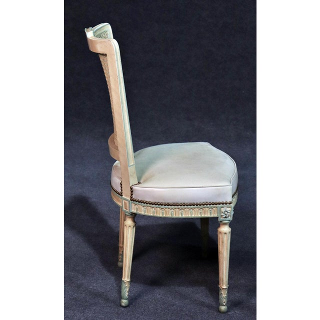 Set of 8 French Louis XVI Style Caned Back Dining Chairs For Sale - Image 11 of 13