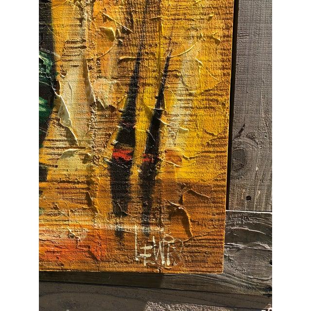 Cool mid-century impasto painting of Regattas done on slat board and batten. Heavy textured with popular mid century tones...