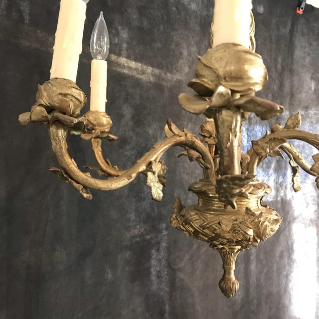 French Gold Gilt Bronze Six-Arm Chandelier For Sale In Portland, ME - Image 6 of 8