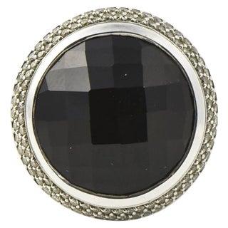 David Yurman Large Cerise Onyx Diamond Sterling Silver Ring For Sale