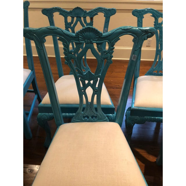 1950s Vintage Laquered Carved Wood Dining Chairs - Set of 8 For Sale - Image 11 of 13