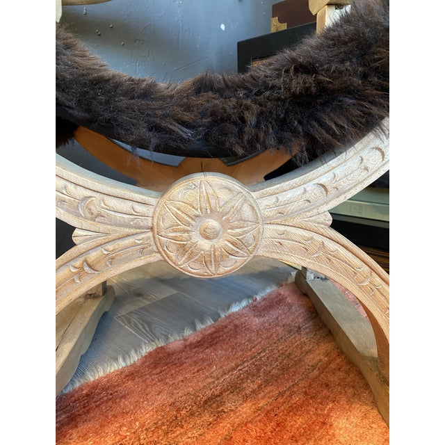 Wood Carved Oak Throne Chair With Shearling Seat For Sale - Image 7 of 10