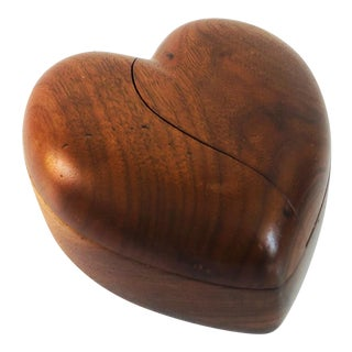 Vintage Wood Heart Box For Sale