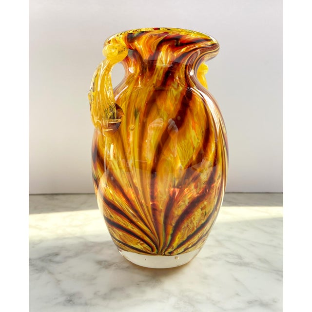 Mid-Century Modern 1960s Murano Swirl Glass Vase With Handles For Sale - Image 3 of 7