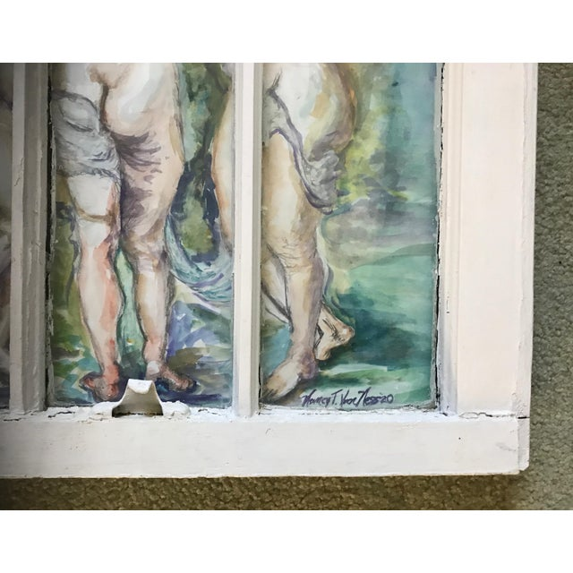 'The Three Graces' Original Watercolor Framed Window Paine Frame Original Watercolor of 'The Three Graces' behind a three...