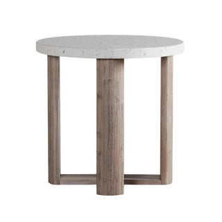 Terrazzo & Acacia Round Side Table For Sale