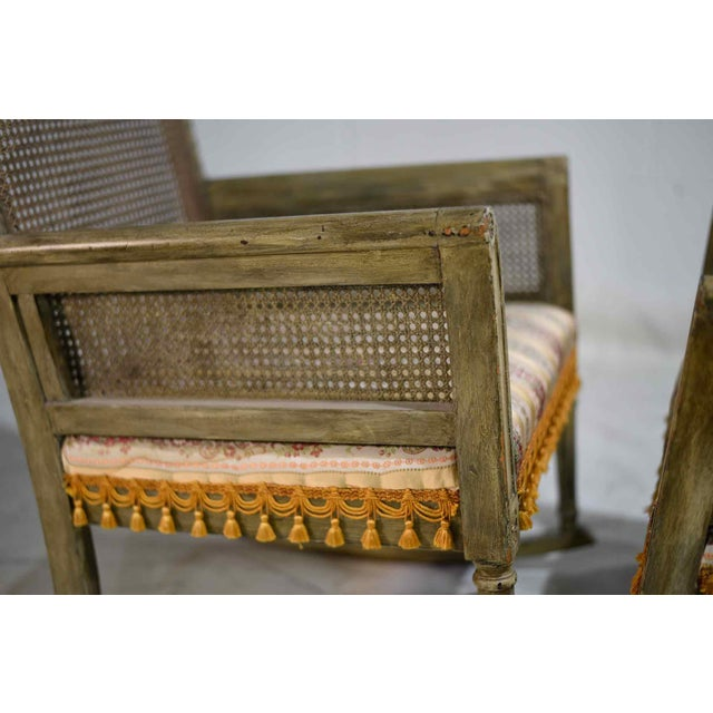 1960s Mid-Century Cane-Back Tassel Fringe Rocking and Arm Chairs - a Pair For Sale - Image 5 of 11