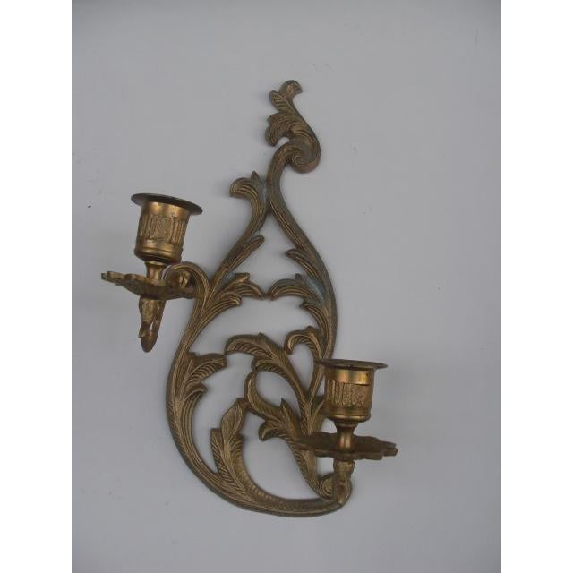 Cast Brass Candleholder Wall Sconces - A Pair For Sale - Image 4 of 5