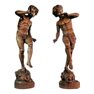 19th Century Italian Carved Wood Figure Sculptures - a Pair For Sale