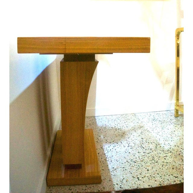 Art Deco Vintage Karl Springer Style Console Table Satinwood - 2 Are Available For Sale - Image 3 of 7