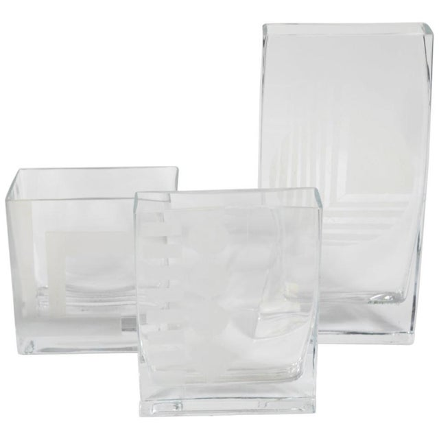 Glass Mid Century Glass Vases with Etched Design in Graduated Sizes - Set of 3 For Sale - Image 7 of 7