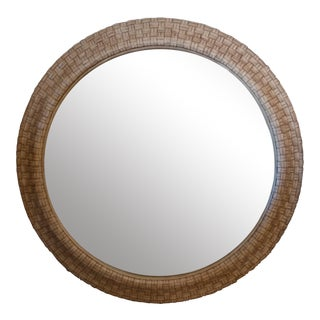 Woven Leather Round Wall Mirror