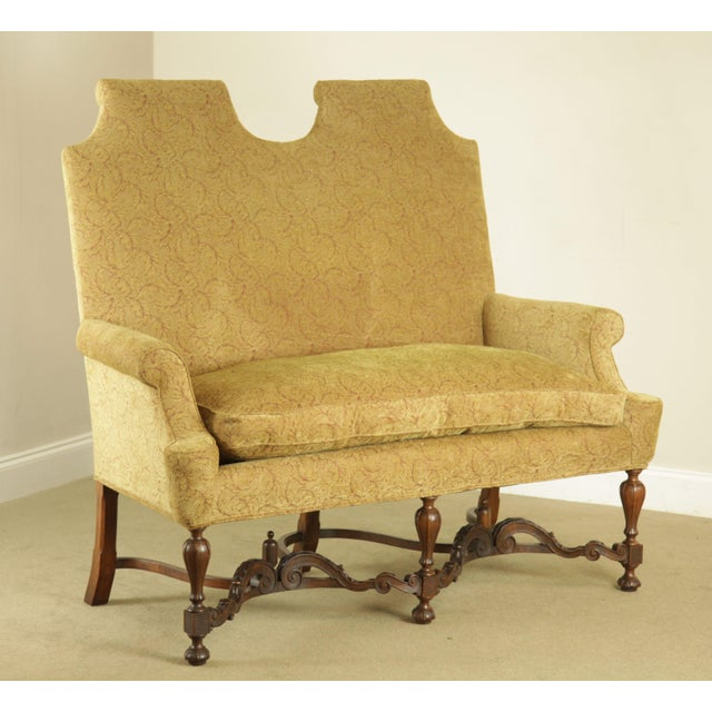 High Quality Custom Upholstered Walnut Frame Settee with Down Filled Seat Cushion