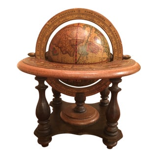 Vintage Wooden Globe on Stand For Sale