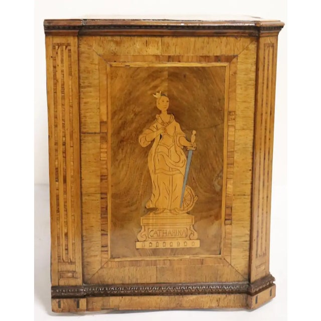 Period Italian neoclassical jewelry or silver chest. Secret locking system. Fruitwood inlay. Neoclassical figures on...