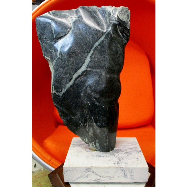 Large Abstract Picasso Style Green Marble Torso Sculpture on Base For Sale - Image 11 of 11