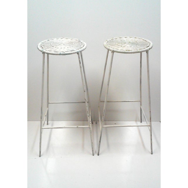 Iron & Wicker Bar Stools -- A Pair - Image 2 of 9