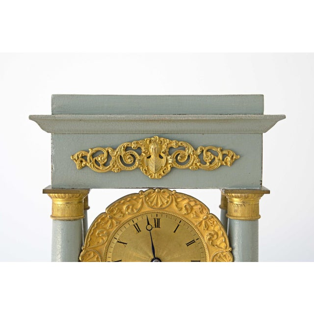 Mid 19th Century Mid 19th Century French Empire Portico Gridiron Mantle Clock For Sale - Image 5 of 8