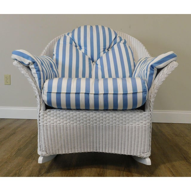 LLoyd Flanders White Wicker Pair Patio Porch Rockers For Sale - Image 10 of 13
