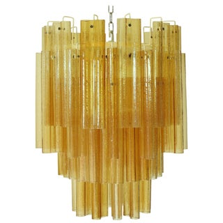Amber Murano Glass Tubes Chandelier For Sale